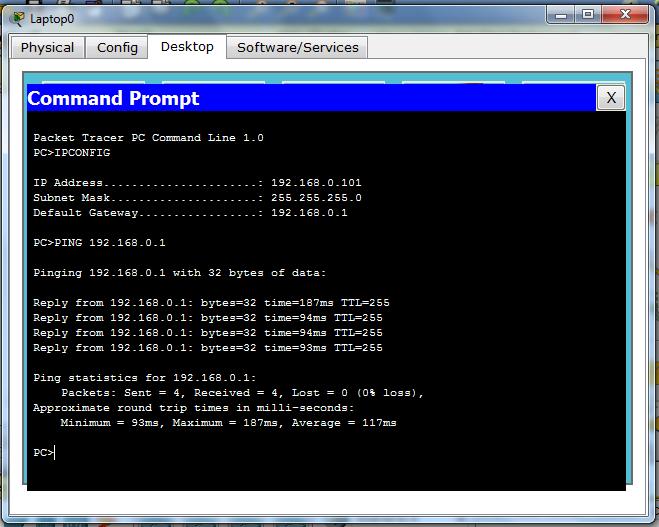 Command Prompt Packet Tracer