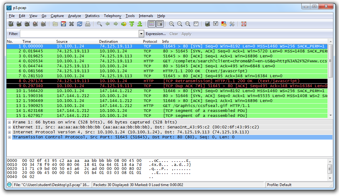 Project 3: Using Wireshark to Analyze a Packet Capture File (15 pts )