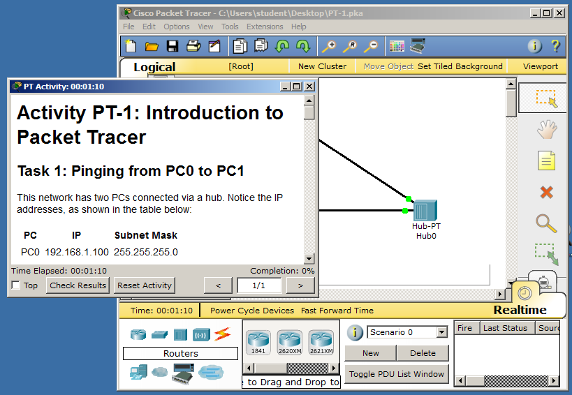 Project 5: Packet Tracer: Broadcast and Collision Domains