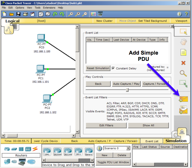 Project 5: Packet Tracer: Broadcast and Collision Domains (15 pts )