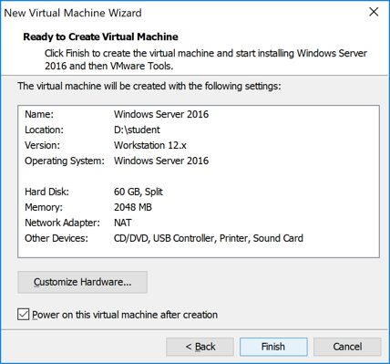 Project 2: Windows 2016 Server Virtual Machine (20 Points)