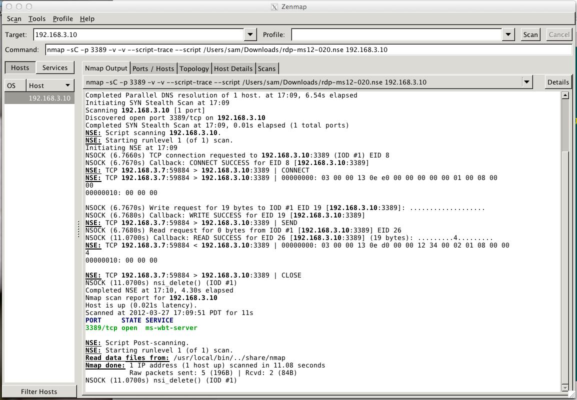 nmap -sC --script rdp-ms12-020 nse