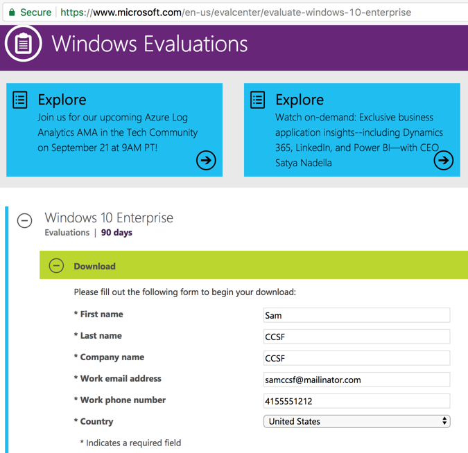 Getting Windows Evaluation Software