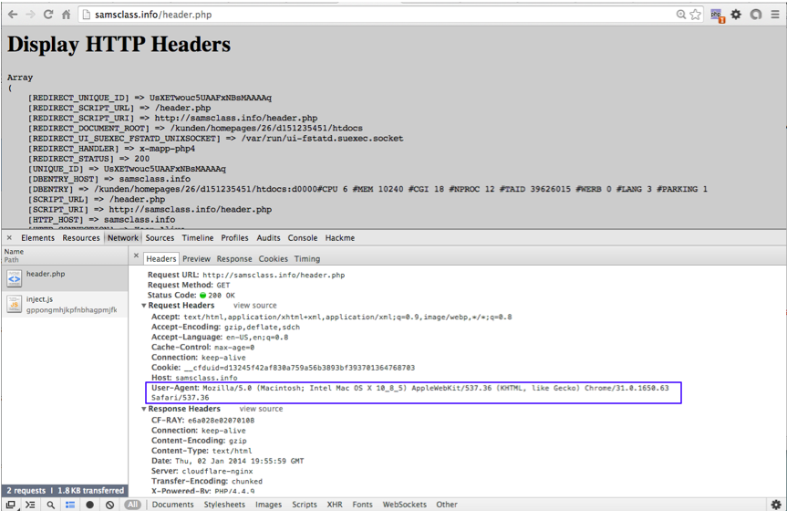 Project 1: HTTP Headers (15 pts )