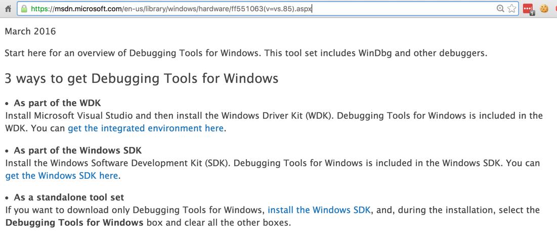 microsoft windows debugging tools