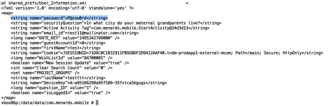 Menards Android Apps Password Exposure