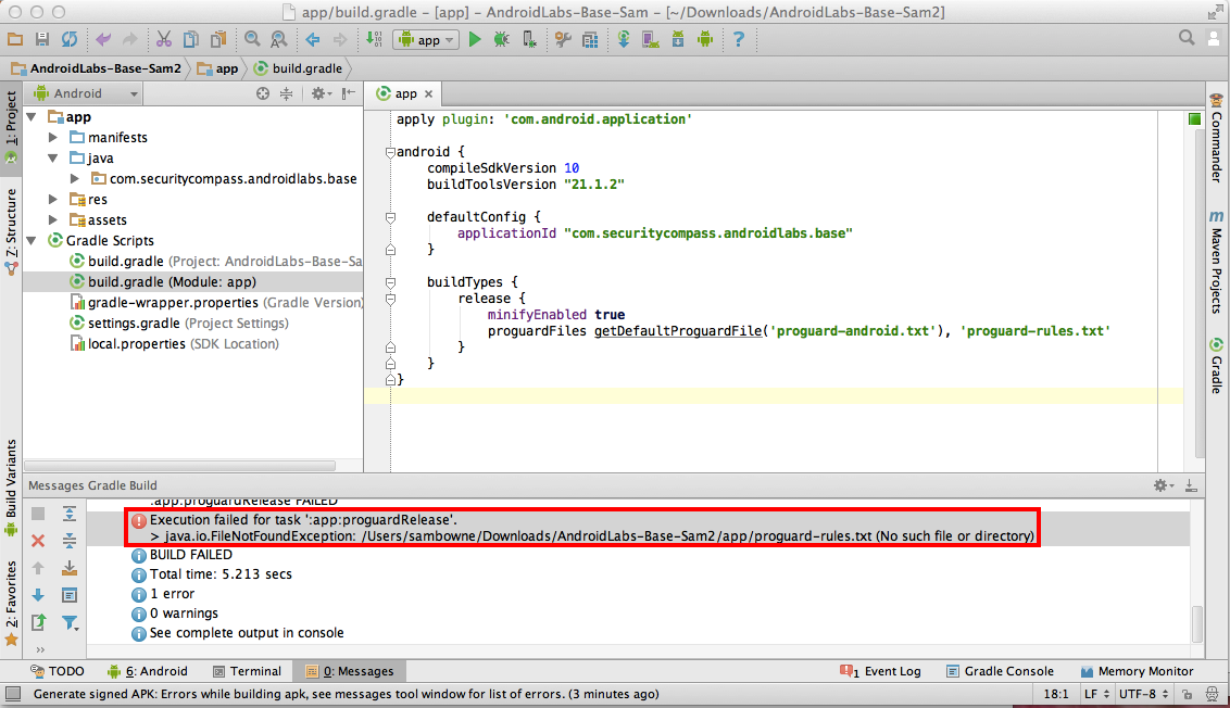 Project 10: Obfuscating an Android App with ProGuard (10 points)